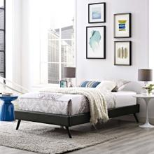 Loryn Twin Vinyl Bed Frame with Round Splayed Legs in Black
