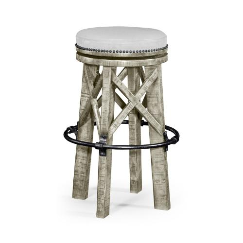 Country Style Rustic Grey & Iron Bar Stool, Upholstered in COM