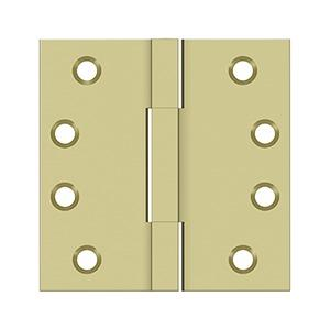 "4""x 4"" Square Knuckle Hinges, Solid Brass - Unlacquered Brass"