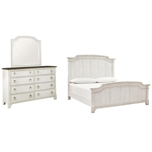 Product Image - California King Panel Bed With Mirrored Dresser