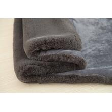 "Chinchilla Feel Faux Fur Throw - 50"" x 60"" / Charcoal Gray"