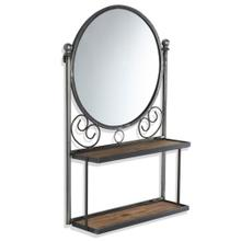VALENTINA WALL UNIT  21in w. X 34in ht. X 7in d.  Round Wall Mirror with Folding Shelves made of F