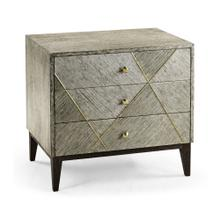 Geometric Dark French Oak Bedside Chest of Drawers