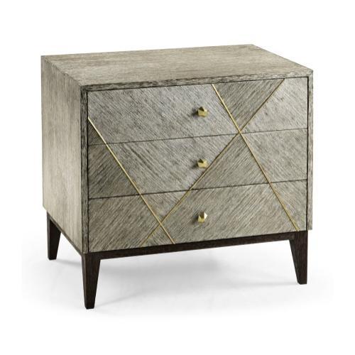 Geometric Dark French Oak Bedside Chest of Drawers