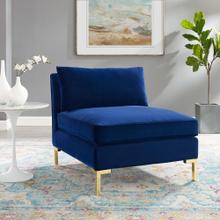 Ardent Performance Velvet Armless Chair in Navy