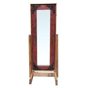 Leather Red Chevel Mirror