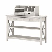 Key West Console Table with Storage and Desktop Organizers - Linen White Oak