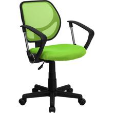 View Product - Low Back Green Mesh Swivel Task Office Chair with Arms