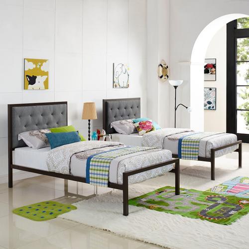 Mia Twin Fabric Bed in Brown Gray