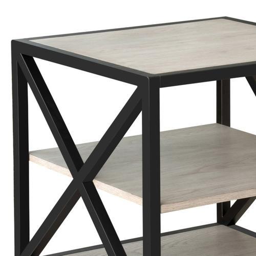 Accentrics Home - Gray Ash Metal Framed Three Shelf End Table