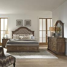 King Opt Storage Bed, Dresser & Mirror, Night Stand