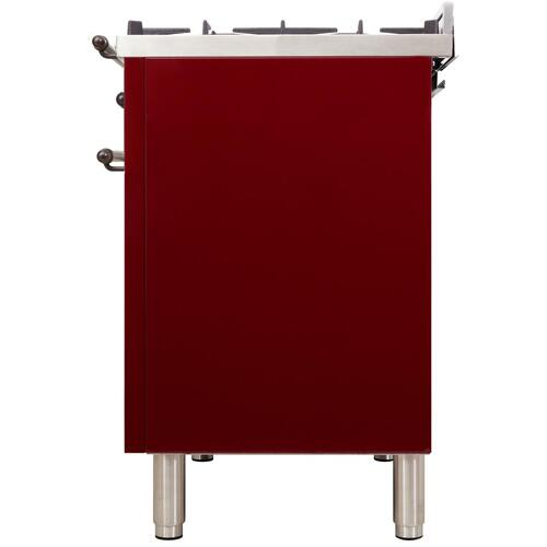 Nostalgie 24 Inch Dual Fuel Natural Gas Freestanding Range in Burgundy with Bronze Trim