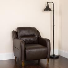 Newton Hill Upholstered Bustle Back Arm Chair in Brown LeatherSoft