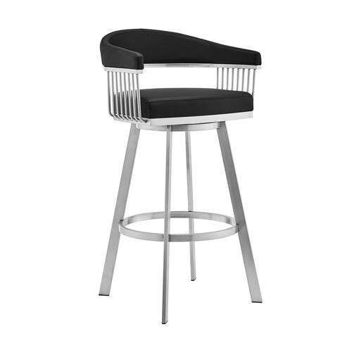 "Chelsea 30"" Black Faux Leather and Brushed Stainless Steel Swivel Bar Stool"