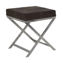 "66212033 - GRENA Leather Stool Brown+Nickel, 17.5""x17.5""x21"""