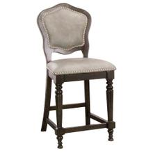 See Details - Vegas Counter Height Upholstered Barstools w/Backs - Distressed Gray Wood (2 Piece)