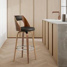 """View Product - Axel 30"""" Swivel Bar Stool in Brown Faux Leather and Walnut Wood"""