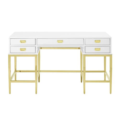 Contemporary White Painted Desk with a Brushed Gold Steel Base