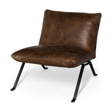 Flavelle I Brown Leather Cushion Seat and Solid Iron Base Accent Chair