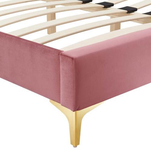 Sutton Full Performance Velvet Bed Frame in Dusty Rose