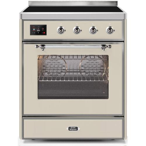 Majestic II 30 Inch Electric Freestanding Range in Antique White with Chrome Trim
