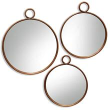 See Details - Round Bronze Metal Mirror Set  Large 26in X 31in Medium 22in X 26in Small 20in X 24in  Wall Mirror