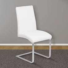 Armen Living Blanca Contemporary Dining Chair in White Faux Leather with Brushed Stainless Steel Finish - Set of 2