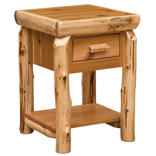 One Drawer End Table with Shelf - Natural Cedar