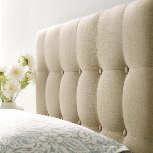 Emily Twin Upholstered Fabric Headboard in Beige