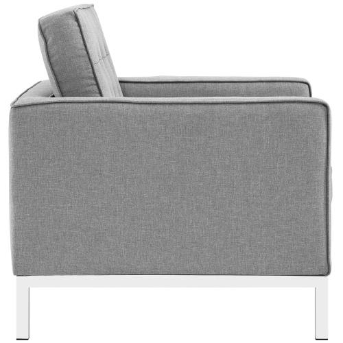 Loft 3 Piece Upholstered Fabric Sofa and Armchair Set in Light Gray