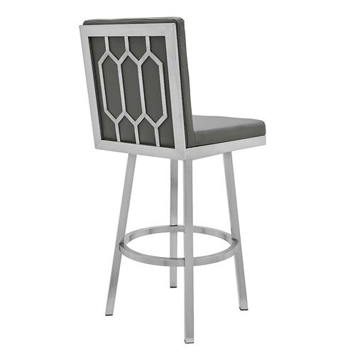 """Armen Living - Gem 30"""" Bar Height Swivel Barstool with Brushed Stainless Steel Finish and Grey Faux Leather"""