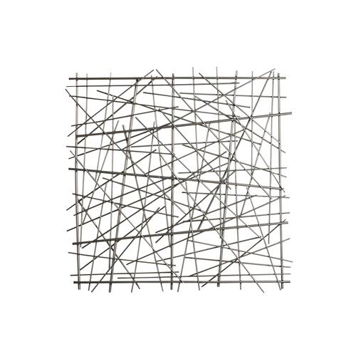 "Metal 21"" Abstract Square Wall Decor, Black Wb"