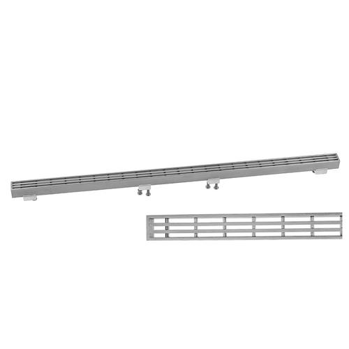 """Brushed Stainless - Slim 24"""" Channel Drain Bar Grate"""