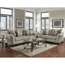 Camero Platinum Fabric Pillowback Sofa and Loveseat Set