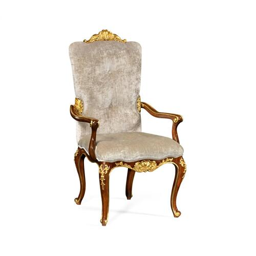 Dining Armchair with Gilt Carved Detailing, Upholstered in Calico Velvet