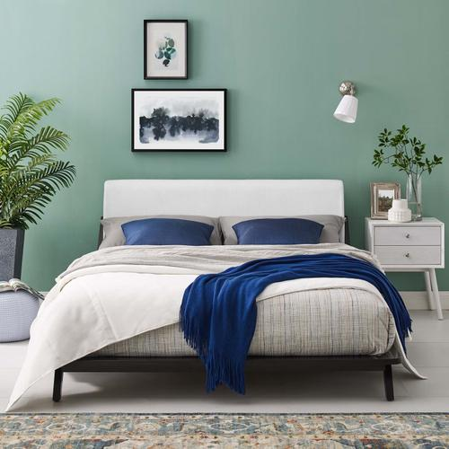 Modway - Luella Queen Upholstered Fabric Platform Bed in Cappuccino White