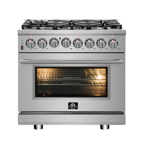 "36"" Gas Range with 240 Volt Oven Dual Fuel FORNO ALTA QUALITA Pro-Style with 6 Defendi Italian Burners 83,000 BTU All 304 Stainless Steel FFSGS6125-36"