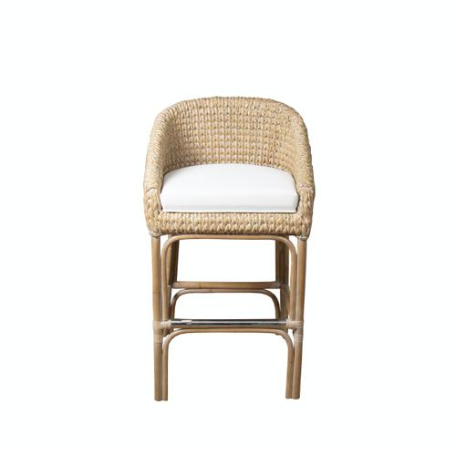 Capris Furniture - 24'' Bar Stool, Available in Grey SeaGrass Finish.