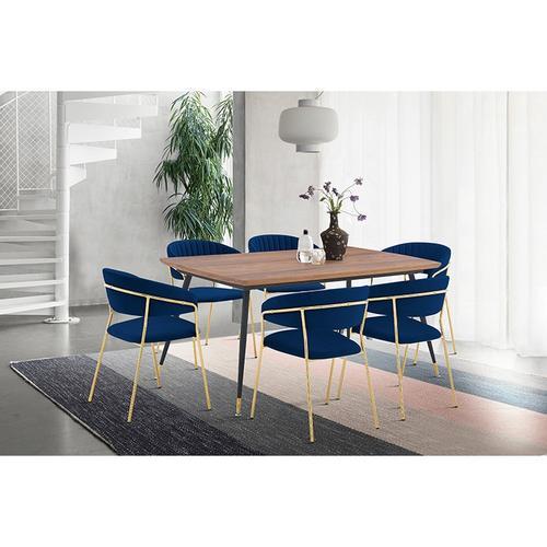 Messina and Nara Blue Velvet and Walnut 7 Piece Dining Set