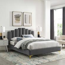Olivia Queen Performance Velvet Platform Bed in Gray