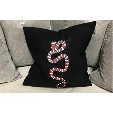 Hand Painted Pillow - Zonata on Black Linen