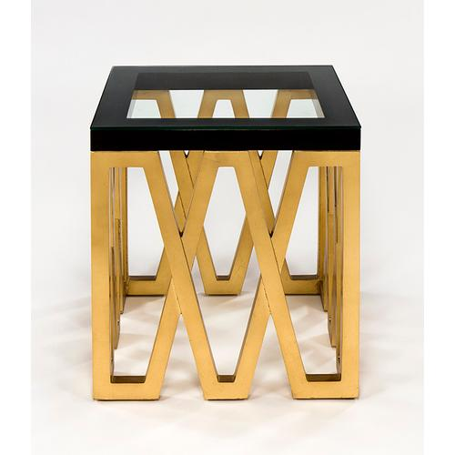 """Artmax - End Table with Glass 24x24x26.5"""""""