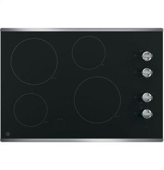 """GE 30"""" Electric Smoothtop Cooktop Stainless Steel JP3030SJSS"""
