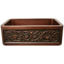 """See Details - Copperhaus 30"""" Rectangular Undermount Sink with a Sunflower Design Front Apron - Smooth Copper"""