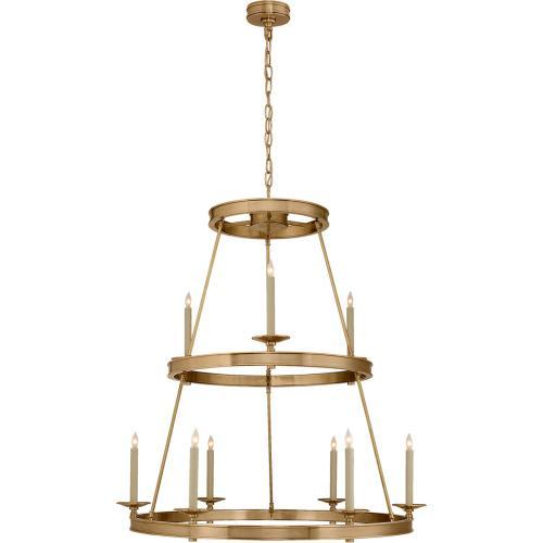 Visual Comfort CHC1606AB E. F. Chapman Launceton 9 Light 36 inch Antique-Burnished Brass Chandelier Ceiling Light, Medium Two Tier