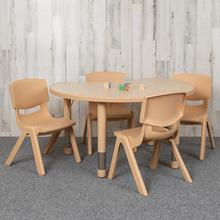 """See Details - 25.125""""W x 35.5""""L Crescent Natural Plastic Height Adjustable Activity Table Set with 4 Chairs"""