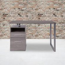 See Details - Harwood Light Ash Wood Grain Finish Computer Desk with Two Drawers and Silver Metal Frame