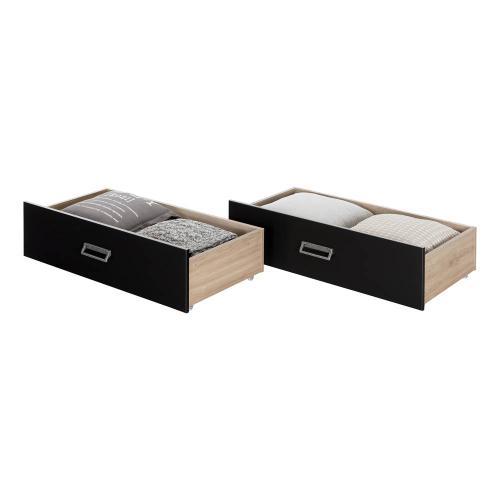 Set of 2 Storage Drawers on Wheels - Rustic Oak and Matte Black