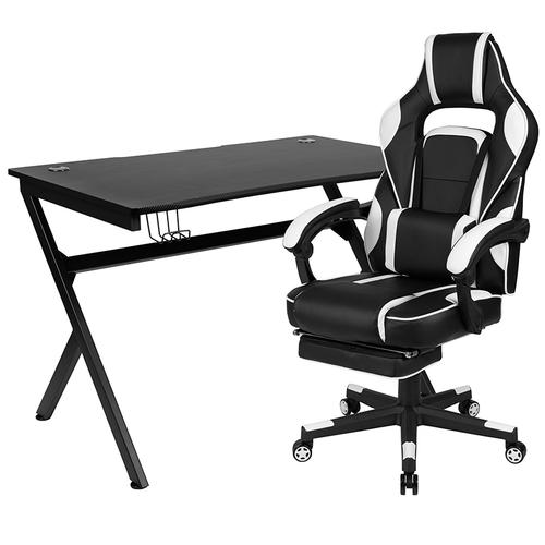 Gallery - Black Gaming Desk with Cup Holder\/Headphone Hook\/2 Wire Management Holes & White Reclining Back\/Arms Gaming Chair with Footrest