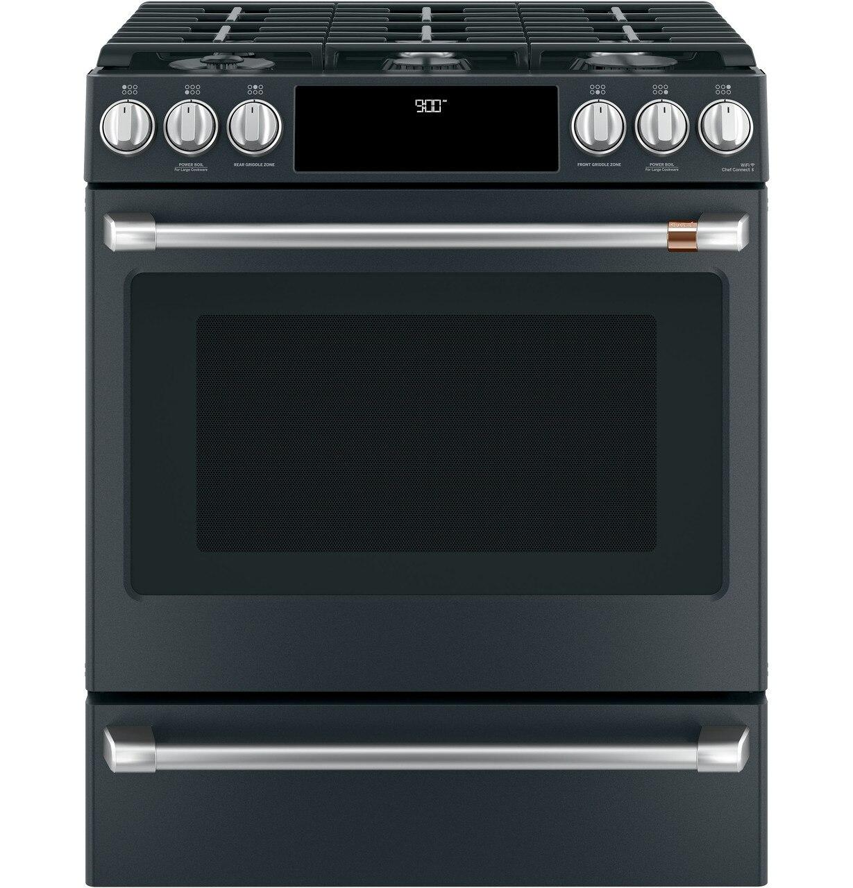"""Cafe Appliances30"""" Smart Slide-In, Front-Control, Dual-Fuel Range With Warming Drawer"""